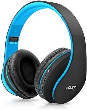 Bluetooth Headphones Wireless,MKay Boys Over Ear Headset V5.0 with Microphone, Foldable & Lightweight, Support Tf Card MP3 Mode and Fm Radio for Cellphones Laptop TV(Black-Blue)