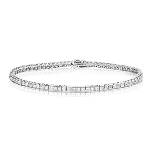 Channel Set Bracelet - Rhodium Plated Sterling Silver Square Princess Cut 2x2 White Cubic Zirconia Tennis Bracelet 7.25