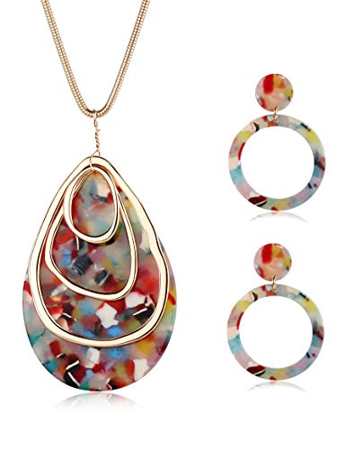 LOLIAS Long Necklace for Women Girls Teardrop Acrylic Circle Pendant Necklace Earrings Jewelry Set Resin Statement Boho Accessories Minimalist Gift
