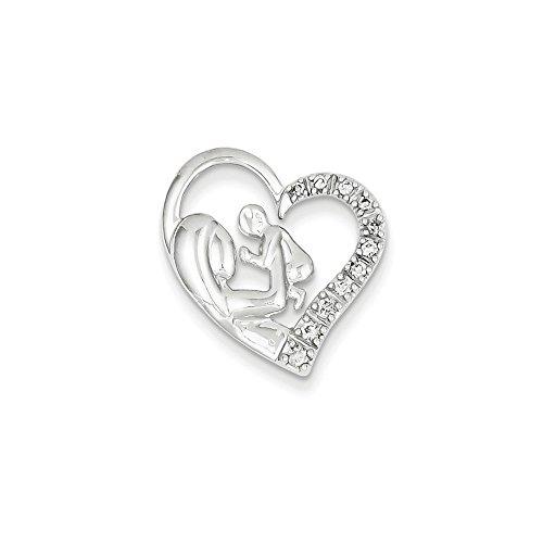14k White Gold Mother and Baby Diamond Heart Diamond quality AA (I1 clarity, G-I (Diamond White Gold Baby Bracelets)