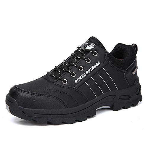 Fiaya Men's Hiking Shoes Outdoor Anti Skid Waterproof Leather Trekking Hunting Tourism Mountain Sneakers (Black, US:10)
