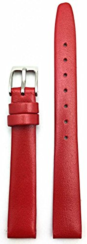 12mm Red Genuine Calfskin Leather Watch Band | Elegant, Flat, Smooth Replacement Wrist Strap That Brings New Life to Any Watch (Womens Standard Length)