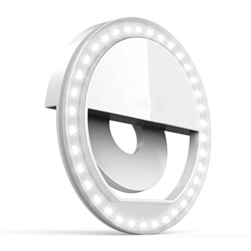 Rechargeable Selfie Ring Light - Tekcast 36 LED Clip-on LED Camera Light, Round Shape LED Fill-light for iPhone iPad Galaxy, Other Smart Photography Phones, white by Tekcast