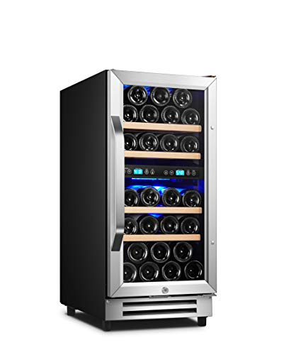 Karcassin 15 inch Wine Cooler - 28 Bottle Dual Zone Wine Refrigerator - Built-in or Freestanding Wine Fridge with Door Lock for Red and White Wine - Silent with Low Vibrations - Frost Free - Temp. Memory Function - Fit Champagne