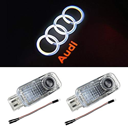 Aukur Car Door LED Logo Light Laser Projector Lights Ghost Shadow Welcome Lamp Easy Installation for Audi A1 A3 A4 A5 A6 A7 A8 Q3 Q7 R8 RS TT S Series(2 Pack)