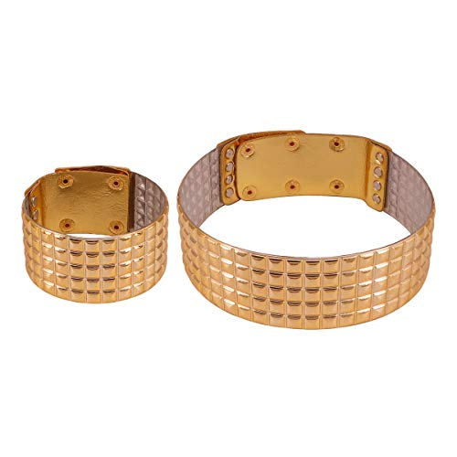 GMQHD Gold Tone African Egypt Punk Gothic Okoye Snap Resin Chunky Leather Choker Collars for Women, Fashion Statement Necklace Jewelry Sets Gift for Best Friend Birthday Christmas. ()