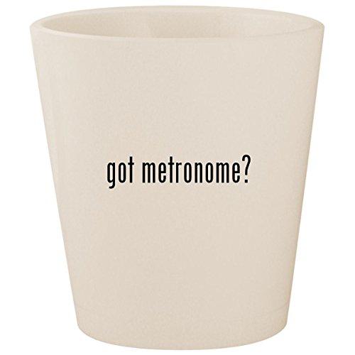 got metronome? - White Ceramic 1.5oz Shot (Vintage Drum Practice Pad)
