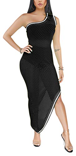 Women Bodycon Asymmetrical Bikini Cover Ups Sexy Summer One Off Shoulder See Through Mesh Swimsuit Casual Backless Stretchable One Pieces Black
