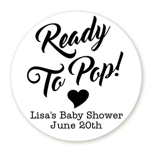 Party Favours & Bag Fillers Stickers Kraft Brown Round Baby Shower Favours Ready to Pop 30 x About to POP