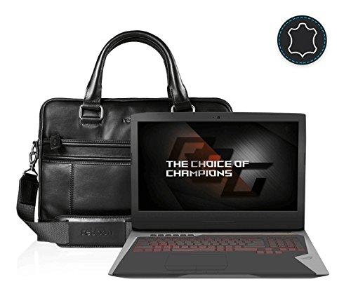 reboon Echt-Leder Laptop-Tasche in Schwarz Leder für ASUS G752VS BA462T 17 3 | 17 Zoll | Notebooktasche Umhängetasche | Damen/Herren - Unisex | Premium Qualität Schwarz Leder