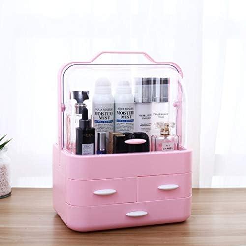 コスメボックス メイクボックス 大容量メイクケース 化粧品収納ケース メイクブラシ 収納ボックス 化粧道具 スキンケア 小物入れ 防塵 防水 ハンドル付き 可愛い 18*26.5*35cm ピンク ホワイト