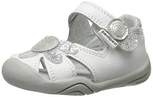 pediped Daisy Grip-N-Go Sandal , White Silver Leather, 22 EU