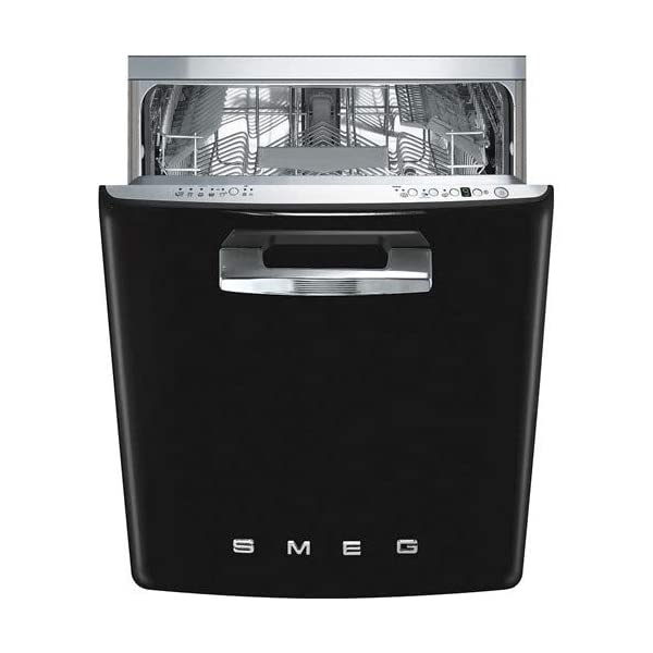 "Smeg STFABUBL 24"" 50s Retro Style Series Built In Fully Integrated Dishwasher with 13 Place Settings 10 Wash Cycles and Stainless Steel Tub in 1"