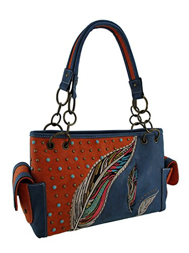 Vinyl Womens Shoulder Handbags Embroidered Feathers & Bli...