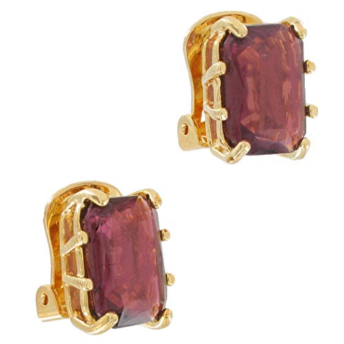 Crystal Purple Amethyst Color Gold Tone Big Jewel Octagon Clip On Earrings USA Earrings For Women Set