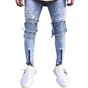 Hombres Pantalones, Manadlian Hombres Pantalones vaqueros Ripeado Ajustado Motocicleta Vintage Hip hop Streetwear Pants