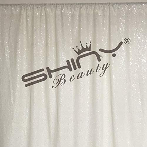 ShinyBeauty 10FTx10FT-Sequin Backdrop-White, Photography Background Sequin Fabric Photo Booth Backdrop Collapsible Video Studio Background Ideal for Curtain/wedding/Other Event Decor(120Inx120In)