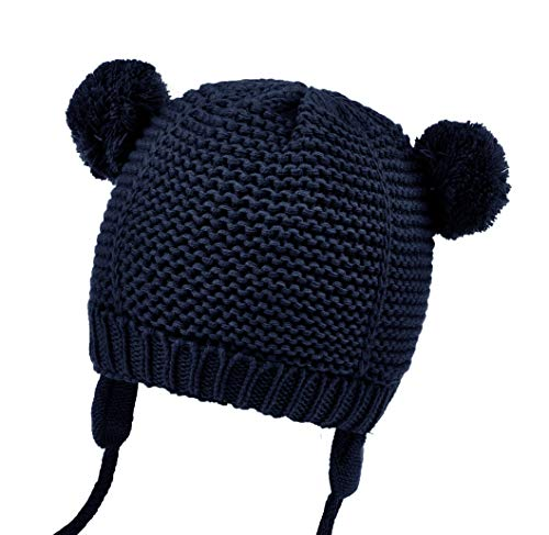 Joyingtwo Soft Elastic Warm Knit Cotton Adorable Baby Infant Beanie Hat with Ear Flap Pom-Pom Deep Blue 7-15 Months