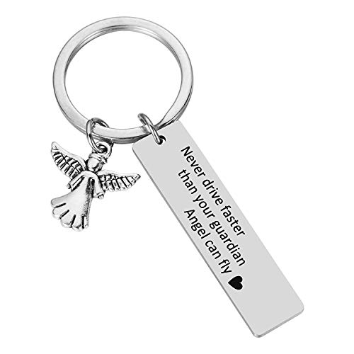 Drive Safe Keychain Gifts for New Drivers Keychain - Never Drive Faster Than Your Guardian Angel Can Fly