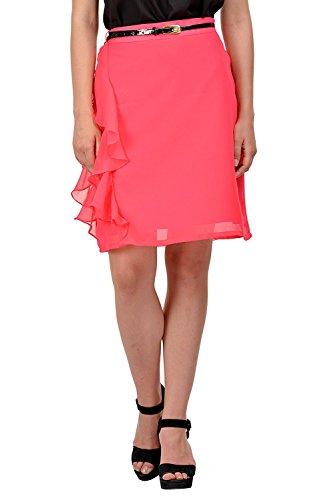Jupe D't Femme Taille Haute Cordon De Serrage en Georgette Wrap Midi Robe S-5Xl Corail