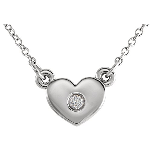 C.Hersh Diamond Heart Pendant Necklace in 14k White Gold 16 inch Chain- (.03ctw, G-H Color, I1 Clarity)