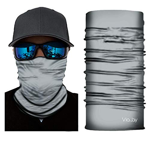ViaJay UV Sun Protection Face Neck Mask, Headband, Bandana, Lightweight, Fishing, Hunting, Motorcycling, Skateboarding, for Men & Women (Gray) ()