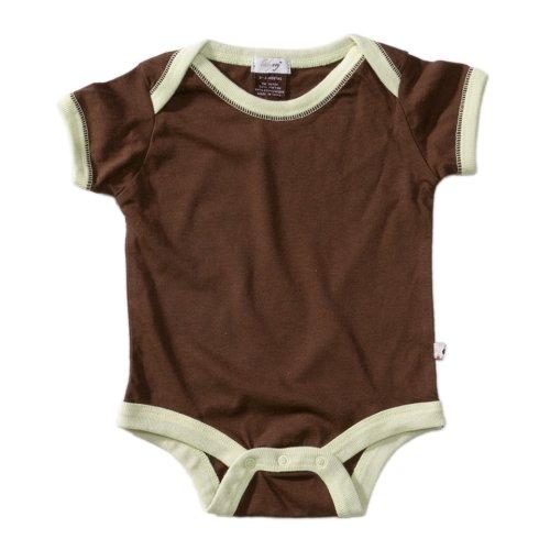 Babysoy Short Sleeve Basic Bodysuit , Chocolate 3-6 Months