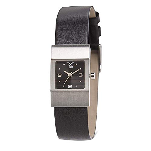 Youngblood Women's Miami I Wrist Watch - Small Japanese Movement Timepeace with Mineral Glass Square Face Dial and Leather Bracelet - Black Dial and Black Band