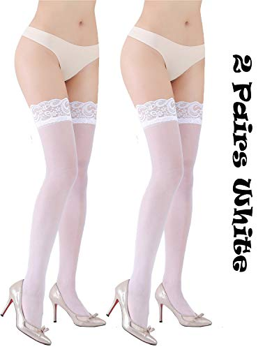Women 2 Pairs Stockings Sheer Lace Thigh High Stockings Tights Top Lingerie