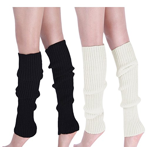 Womens 80s Ribbed Leg Warmers - Juniors 80s Eighty's Knitted Crochet Long Sock Yoga Sport Ballet -