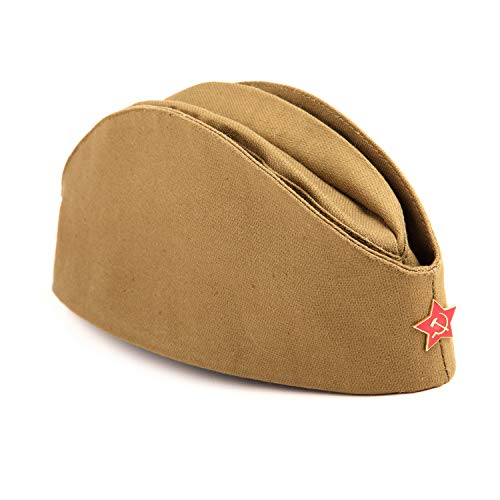 (USSR Military WW2 Side Cap/Soviet Hat Pilotka Khaki Russian Army incl. Red Star)