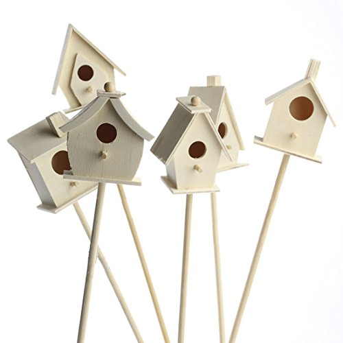 Factory Direct Craft Group of 6 Assorted Style Unfinished Wood Miniature Birdhouses on Wood Picksfor Displaying, Gifting and Decor ()