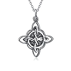 925 Sterling Silver Celtic Triquetra Trinity Knot Good Luck Pendant Rolo Chain Necklace, 18""
