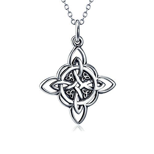 Irish Claddagh Pendant - 925 Sterling Silver Celtic Triquetra Trinity Knot Good Luck Pendant Rolo Chain Necklace, 18