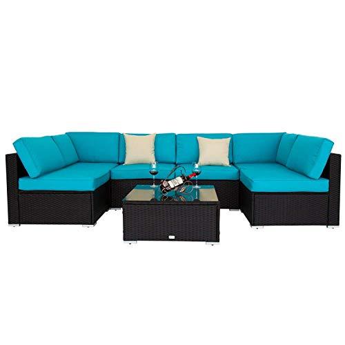 Amazon Com Kinbor Black All Weather Rattan Wicker Sofa