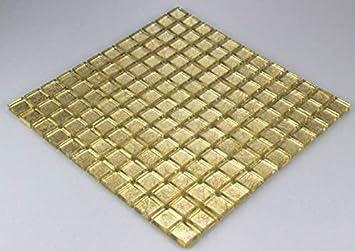 Bador Glasmosaik Mosaik Fliesen Mosaikfliesen Glasfliesen Glas Gold 30x30