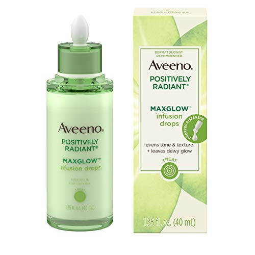(Aveeno Positively Radiant MaxGlow Infusion Drops with Moisture Rich Soy & Kiwi Complex, Hypoallergenic, Non-Comedogenic, Paraben- & Phthalate-Free Moisturizing Facial Serum, 1.35 fl. oz)