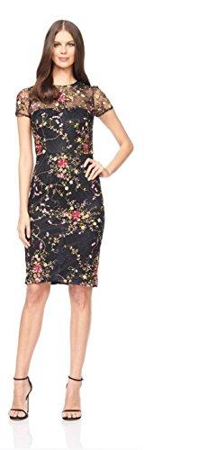 David Meister Women's Short Sleeve Cocktail Dress 10 Black/Pink
