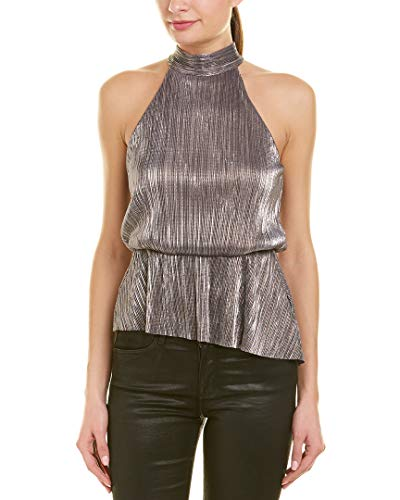 (ASTR the label Women's Halter TIE Neck Crinkle Blouson Peplum Sleeveless TOP, Metallic Multi,)
