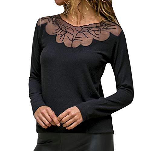 (AOJIAN Blouse Women Long Sleeve T Shirt Solid Lace Patchwork Tees Tank Shirts Tops Black)