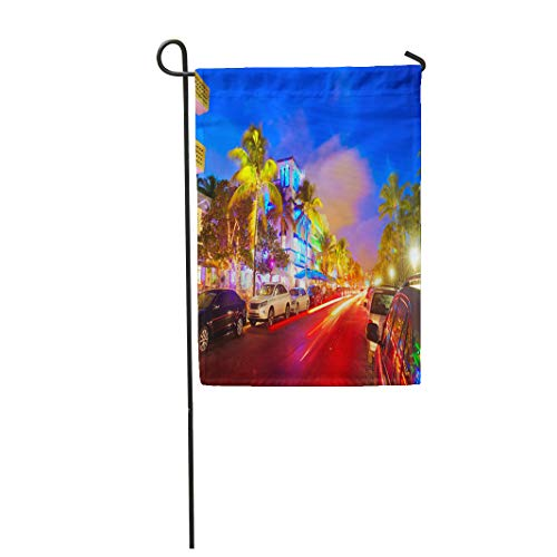 (Semtomn Garden Flag 28x40 Inches Print On Two Side Polyester Miami Beach South Sunset in Ocean Drive Florida and Car Lights Home Yard Farm Fade Resistant Outdoor House Decor)