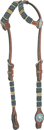 Western Rawhide Turquoise Beads Double Ear Headstall-Chestnut ()