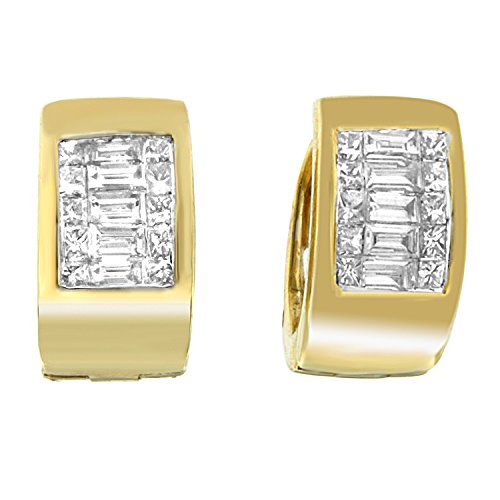 14K Yellow Gold Princess and Baguette-Cut Diamond Earrings (0.50 cttw, H-I Color, VS2-SI1 Clarity)
