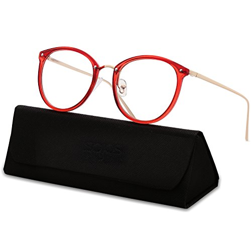 SojoS Round Women Eyeglasses Fashion Eyewear Optical Frame Clear Glasses SJ5969 With Red Frame/Gold - Eyeglass Red Round Frames