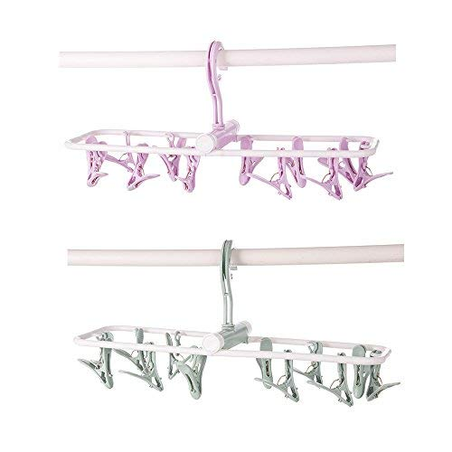 Aschic Travel Foldable Clips Portable Plastic Clothespins Drip Hangers Baby Drying Rack Lingerie Hanger Underwear Peg Dryer(2 Pack, Purple/Green) (Assorted)