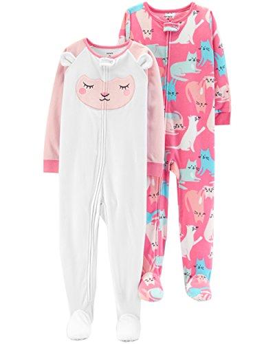 Carter's Baby Girls' 2-Pack Fleece Pajamas, Lamb/Cats, 6 Months