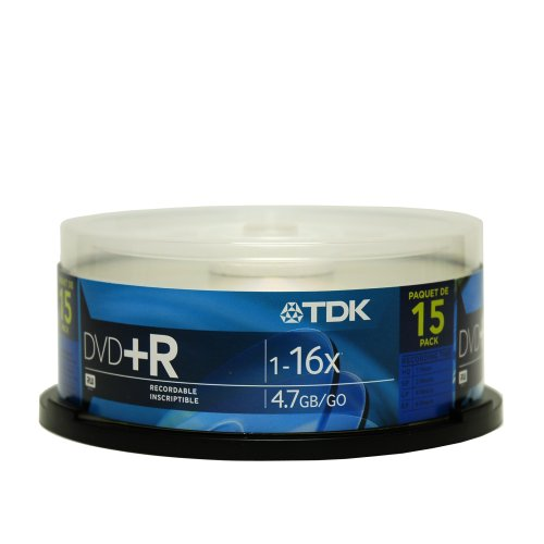 UPC 020356485153, TDK Electronics DVD+R47FCB15 Single sided 16X compatible 15 pack