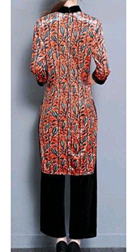 Pattern1 Cheongsam Women Coolred Print Chinese Trousers Stand Tunic 2pcs Collar w4qAqzn0p