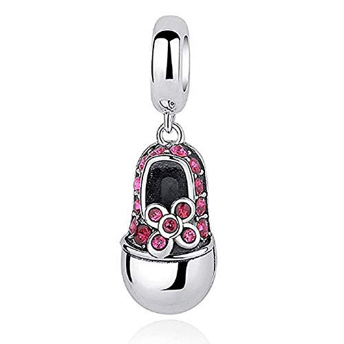 Romántico Amor Christams Gift Pink Baby Girl Shoes Dangle Charm Silver Crystal fit Pandora Bracelets