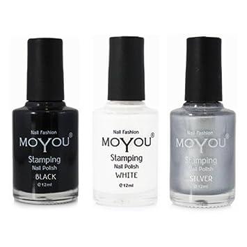 Moyou Nails Bundle Of 3 Stamping Nail Polish Black Silver And